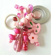 New Handmade Pink Silver Wooden Acrylic Glass Beaded Cluster Keyring Bag Charm