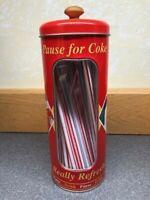 COCA COLA COKE Vintage Style 2003 Red Straw Dispenser w/Window Great Condition