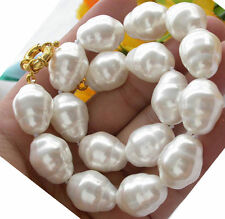 AAA++ LARGE FASHION 20MM SOUTH SEA WHITE BAROQUE SHELL PEARL NECKLACE 18""