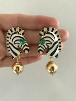 Stunning Designer Style Runway Enamel Zebra Embellished Push Back Drop Earrings