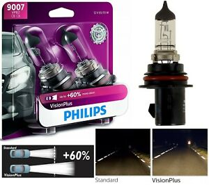 Philips VIsion Plus 60% 9007 HB5 65/55W Two Bulbs Head Light High Low Beam Lamp