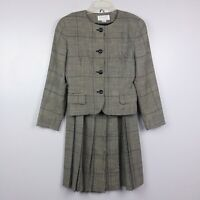 Vintage 1980's Christian Dior Pure 100% Wool Plaid Blazer & Skirt Set, Size 6