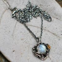 Western Style Vintage Leaves Colorful Natural Moonstone Rose Pendant Necklace