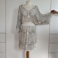 BIBA Dress Ivory White Gold Beaded Logo Dolman Sleeve Party Wedding BNWT