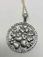 Sterling Silver Irish SHAMROCK Pemdant Necklace  White Topaz Gorgeous New in Box