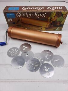 Vintage Nordic Deluxe Cookie King Crank Type Cookie Press Spritz Gun w 10 Discs