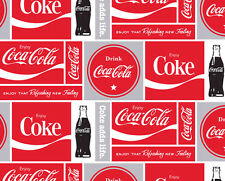Coca-Cola Squares Soda Pop Bottles Fleece Fabric Print by the Yard A340.03