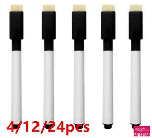 Whiteboard Marker Pens Black Dry Wipe Erase Pen Eraser Lid Cap