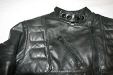 Schott Black Padded Leather Cafe Racer Motorcycle Jacket Sz 12 Womens Korea M