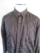 ROBERT GRAHAM black blue checker stripe pleat embroidered flip cuff shirt XL