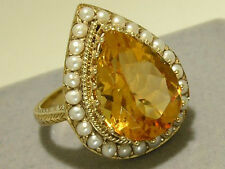 C864 HUGE Genuine 9ct Gold NATURAL Citrine Pearl Cocktail Ring made in your size