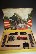 1960's FLEISCHMANN MINI TRAIN SET STEAM LOCOMOTIVE & CARS HO SCALE MODEL #1305