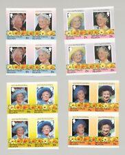 British Virgin Islands #509-516 Queen Mother 4v Imperf Blocks of 2 Pair