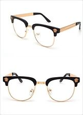 Men Women VINTAGE RETRO Style Clear Lens EYE GLASSES Black & Gold Fashion Frame