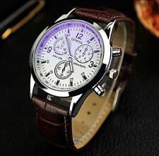 New Luxury Mens Watch Fashion Faux Leather Analog Stainless Steel Watch Watches