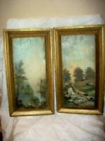 19th C. FRENCH OIL PAINTINGS LANDSCAPE FARMHOUSE LONG NARROW 1891 PLEIN AIR