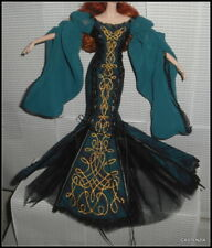 DRESS BARBIE DOLL SORCHA GLOBAL GLAMOUR MODEL MUSE BLUE TEAL CELTIC STYLE GOWN