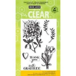 Clear Stamp Set ANTIQUE GRATITUDE BOUQUETS Flowers Thank You Card Making