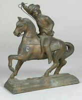 Antique Metal Spelter Figure Horse and Rider Cowboy Figurine