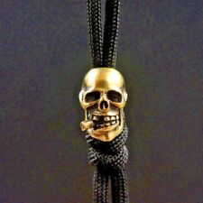 Brass Smoking Skull Knife Pendant Hanging Button Paracord Beads Zipper Head