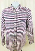 Charles Tyrwhitt Men's Weekend Slim Fit L/S Button Down Red Blue Shirt Sz L