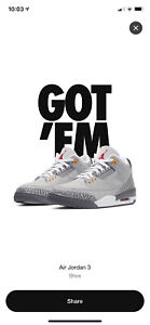 Air Jordan Retro 3 Cool Grey 2021 Size 9.5