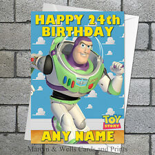 Toy Story birthday card: Buzz Lightyear. 5x7 inches. Personalised plus envelope.