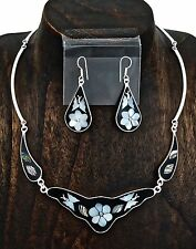 Artisan Butterfly Abalone Mother of Pearl Necklace and Earring Set from Taxco