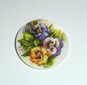"""Yellow & Purple Pansies Flowers Button - Mother of Pearl MOP Shank Button 1+3/8"""""""