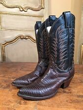 Vintage Justin Womens Cowboy Western Riding Boots Lizard Skin Size 6.5