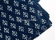 10 Yard Indian Fabric Hand Block Print Mud cloth Indigo Blue Cotton Lahariya