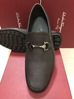 NIB Salvatore Ferragamo Cancun Brown Textured Leather Drivers Loafers 7EE