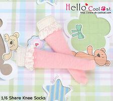 ☆╮Cool Cat╭☆【KS-C02】Blythe/Pullip Lace Top Below Knee Doll Socks # Pink