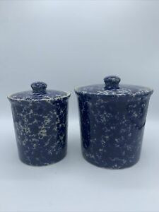 Set Of 2 Bennington Potters Blue Agate Pottery Table Canister With Lid
