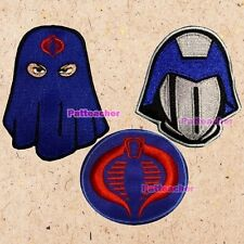 Lot of 3 GIJOE Patches Cobra Commander Heads Helmet Mask Hood Blue and Red Logo