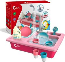 14 Pcs Kids Pretend Play Kitchen Sink with Running Water Dishwasher Playing Toys