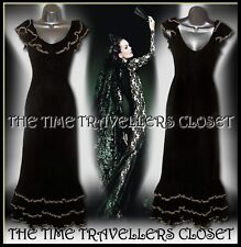 Kate Moss Topshop Black Mesh Taupe Velvet Tiered Spanish Maxi Gown Dress UK 12