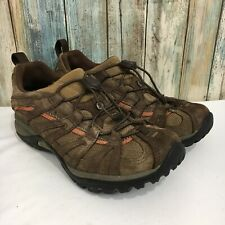 Merrell Womens 7.5 Brown Leather Pull String Low Top Vibram Sole Hiking Shoes
