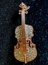 """Fiddle Brooch pin clear rhinestones Rose gold tone 2""""x .75"""" Mothers Day Gift #2"""