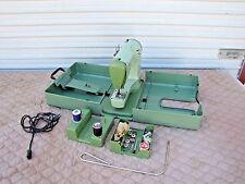 Vintage Swiss Elna Green Transforma Sewing Machine with Case Model 722010