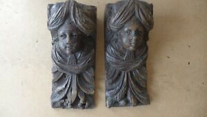 PAIR OF OAK ANTIQUE WALL SCONCE