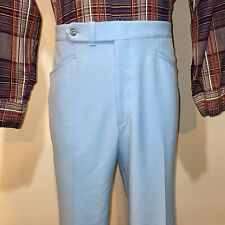 Vtg 60s 70s Mens 36 31 Sansabelt Light Blue Polyester Disco Leisure Suit Pants