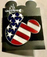 Disney World Mickey Mouse USA Flag Pin Silver Tone Red White Blue New 2001