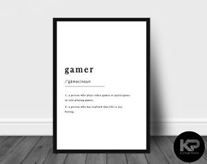 Gamer Definition Print Typography Poster Black White WordArt Picture Wall Art