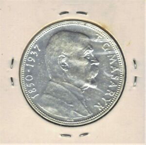 1937 CZECHOSLOVAKIA 20 KORUN DEATH of PRESIDENT T.MASARYK  SILVER COIN KM#18 UNC