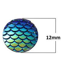 10 pcs. Blue Iridescent Mermaid Fish Scales Dragon Cameo Domes Cabochons - 12mm