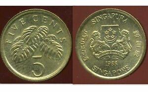 SINGAPORE  SINGAPOURE 5 cents 1988  ( aus )