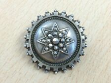 ANTIQUE SILVER TARGET LOCKET BACKED CUT STEEL LOOK BROOCH PIN CIRCA 1880