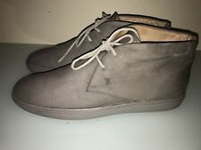 TOD'S Sz 9.5 Men's POLACCO GOMMA Gray Suede Lace-Up Ankle Boots Chukka Shoes