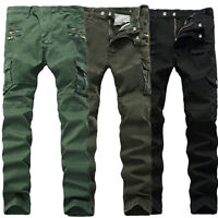 Mens Motorcycle Denim Biker Jeans Combat Stretch Skinny Trousers Slim Fit Pants